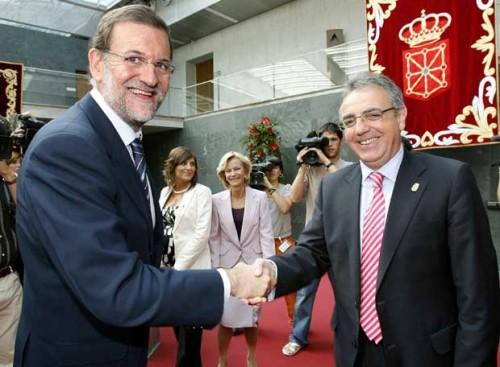 Mariano Rajoy con Miguel Sanz, Presidente de Navarra
