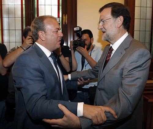 Mariano Rajoy con Presidente Extremadura Monago